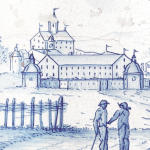 Hält hier ein Bäuerlein einem anderen einen Vortrag? Bemalte Ofenkachel mit Schloss Klingenzell und zwei Bauern im Vordergrund.