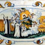 Weizenernte der Mönche in Salem, bemalte Ofenkachel aus Steckborn