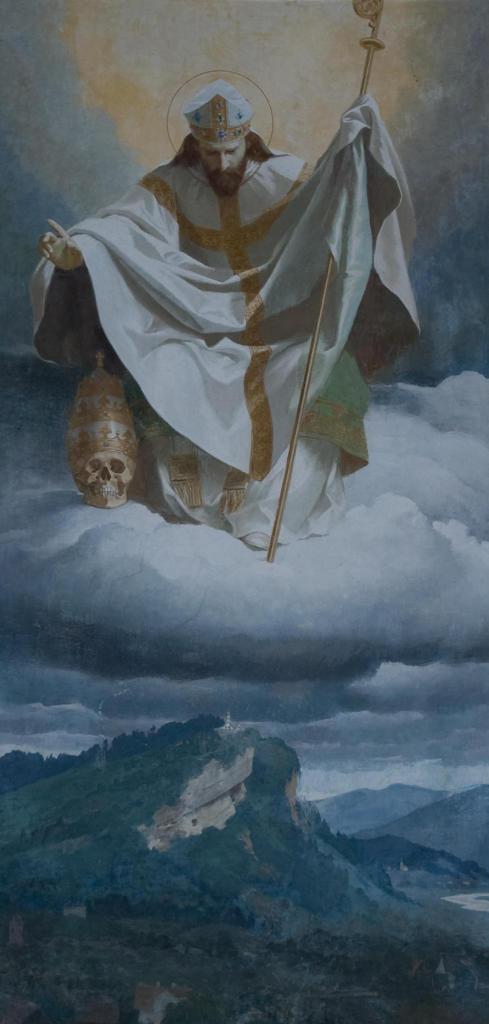 Heiliger Gebhard schwebt auf einer Wolke oberhalb des Gebhardsbergs. In der Hand hält er seinen Bischofsstab. Zu seinen Füssen steht das Haupt Papst Gregor des Grossen. Gebhardsberg bei Bregenz