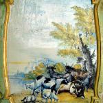 Mythen und Legenden über Tiere und Landschaften. Bemalte Ofenkachel.