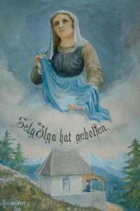 Gemälde: die selige Ilga mit ihrer Schürze voll Wasser, darunter die Ilgakapelle, Foto © Barbara Hutzl-Ronge