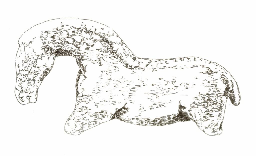 Zeichnung eines Pferdchens aus Elfenbein, das in der Höhle Vogelherd gefunden wurde