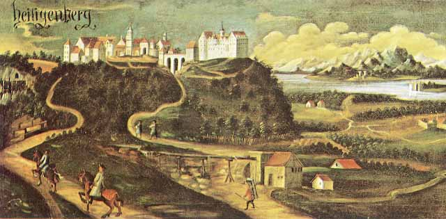 Gemälde vom steil aufragenden Heiligenberg. Im Bildvordergrund Reiter auf gewundenen Strassen, die zum Schloss hinaufführen. Im Hintergrund der Bodensee und die Alpsteingruppe am anderen Ufer