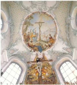 Deckengemälde von Franz Ludwig Herrmann, St. Ulrich-Kirche Kreuzlingen. Foto © Roman Von Götz