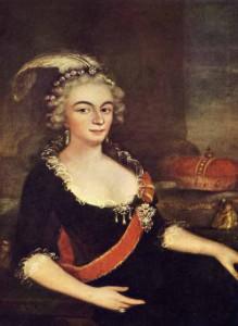 Gemälde, Porträt der Fürstäbtissin Friederike von Bretzenheim. Sie trägt ein schwarzes Kleid mit rotem Ordensband und eine kecke weisse Feder in den lockigen Haaren.