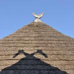 Mit Ried gedecktes Dach eines Pfahlbauhauses