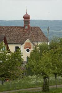 Obstbäume und Wallfahrtskirche Klingenzell