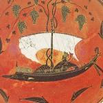 antike griechische Vase: der Gott Dionysos auf einem Segelschiff