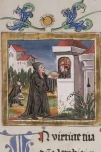 Hl. Otmar, gefangen auf Burg Bodman, Buchminiatur, © Stiftsbibliothek St. Gallen