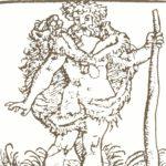 Nur mit einem Fell bekleidet: der Riese Santas mit wildem Bart