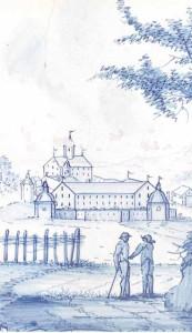 Ofenkachel: im Vordergrund zwei Bauern im Gespräch, dahinter Schloss Klingenzell
