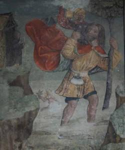 Der heilige Christophorus trägt das Jesuskind über den Fluss, Wandgemälde, Kloster St. Georgen, Stein am Rhein
