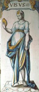 Ofenkachel aus Steckborn. Motiv: eine Frau in antikem Gewand betrachtet sich im Spiegel