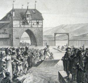 Kupferstich: Eine Schar von Zürcherinnen und Zürchern warten am Zürichsee, wo die reformierten Locarner Flüchtlinge auf Booten beim Gerädelter ankommen.