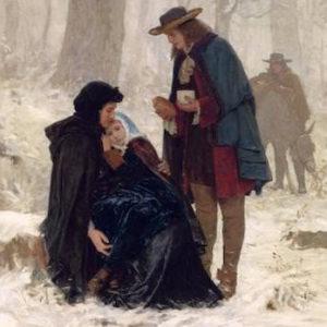 Gemälde von Albert Anker: In einem verschneiten Wald rasten Hugenotten auf der Flucht