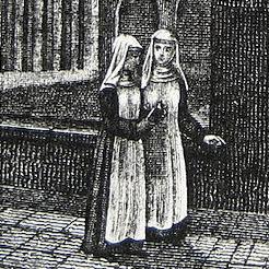 Frauen vor der Reformation: Zwei Nonnen im Gespräch, wandelnd im Kreuzgang des Klosters Oetenbach in Zürich.