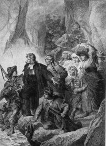 Reformierte Bergbauern, Frauen und Kinder, die mit Sack und Pack ihre piemontesische Heimat verlassen müssen, weil sie ihres Glaubens wegen vertrieben werden.