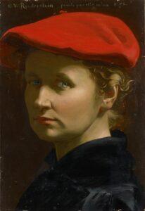 Direkt auf den Betrachter gerichtet sind die grünen Augen von Ottilie Roederstein. Die Malerin trägt einen schwarzen Kittel und ein knallrotes französisches Beret, unter das sie ihre rotblonden Locken gesteckt hat.
